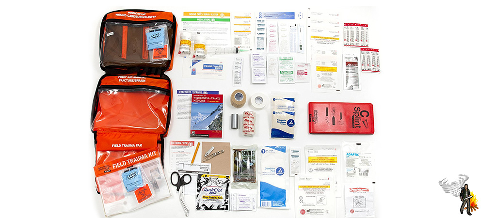 Car survival kit first aid items on white background