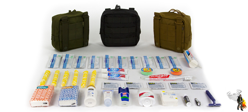 Car survival kit hygiene items on a white background